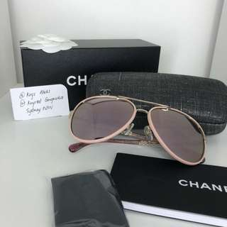 Chanel Aviator Pink Mirrored Sunglasses