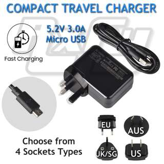 Portable Travel 5v 3a Micro USB Fast Handphone Tablet Charger AC Power Supply Adapter Android Microsoft Surface 3