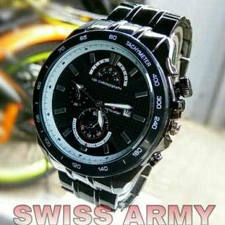 Jam tangan IDR 100k tali stainless steel warna hitam dm 4,5cm tanggal aktif free baterai cadangan water resistance