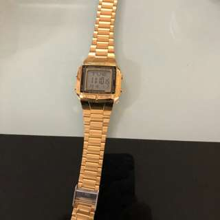 Orig Casio Vintage DB-360G-9A Gold Plated Watch For Men and Women