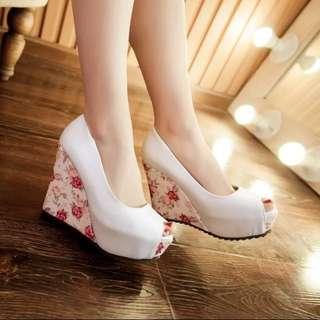 大小尺碼34-41 ❤️氣質花朵 魚口楔型鞋高跟鞋