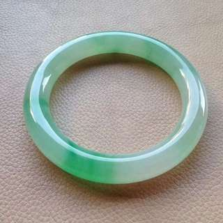 57.6mm icy green patches Jadeite Bangle