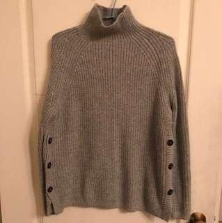 H&M灰色高領毛衣