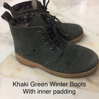Khaki Green Winter Boots with Zipper