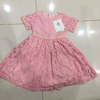 Salmon pink lace dress