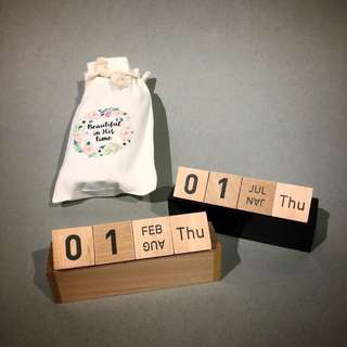 Unique wedding favours! Wooden block calendars with printed calligraphy canvas  pouch