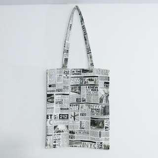 文青風英文報紙帆布袋 帆布包 購物袋 環保袋 肩背 手提