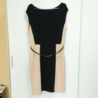 Dress Black Cream Minimal