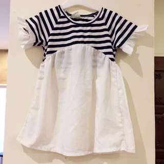 Blue Striped Little Girl Dress