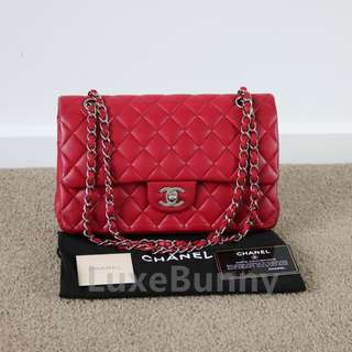 Authentic Chanel Classic Medium Red Lambskin Leather Double Flap Bag