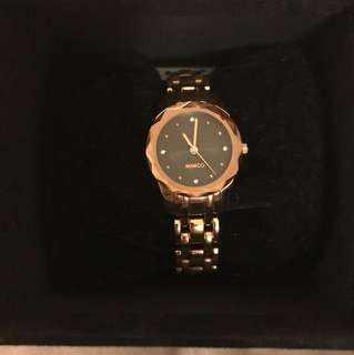 Mimco black and gold timepeace watch