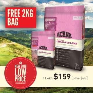 Acana Adult Single Formula Grass-Fed Lamb with Okanagan Apples 11.4kg + Free Extra 2kg