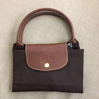 Longchamp brown short handle tote bag