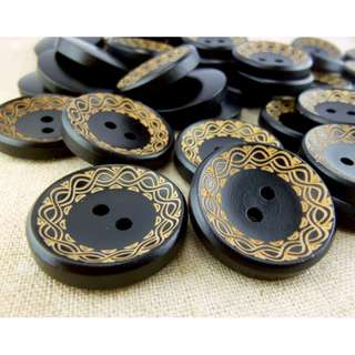 WB11094 - 28mm Waive Design Wood Buttons (10 pieces) #craft