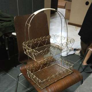 2 tier gold plated basket