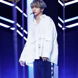Bts V DNA oversized stripe shirt