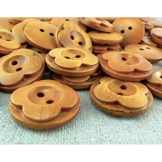 WB11157 - 20mm Floral Crafted Design Wood Buttons (10 pieces) #craft