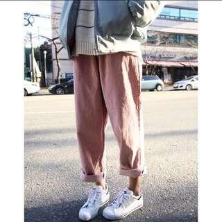 燈芯絨休閒褲,粉色