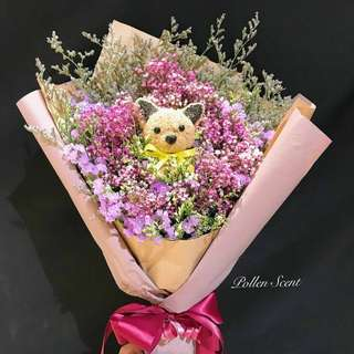 Dried flower with rabbit and cat bouquet