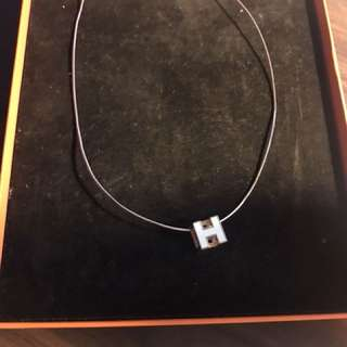 Hermès logo necklace white rose gold 不議價