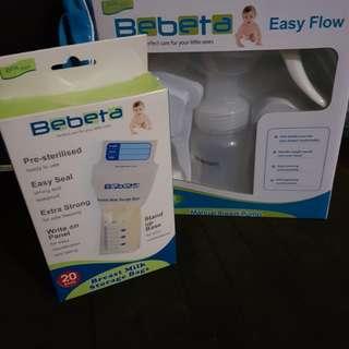 Bebeta Manual Breast Pump with storage bags