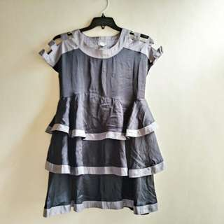Gray tiered dress