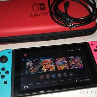 Switch連 實體遊戲Mhxx, 連原盒本身設備,包type c線,紅色保護套 連保養 8 個月