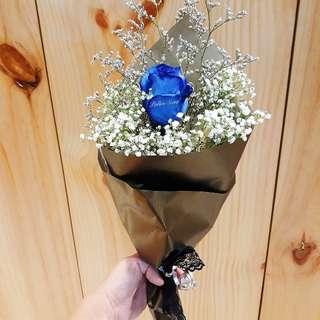 1 stalk blue roses bouquet