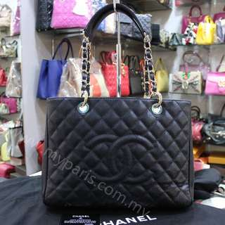 Chanel Black Caviar Grand Shopping Tote Bag GST GHW