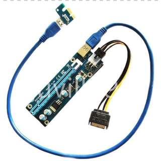 Available now and brand new! PCI-E 1x to 16x (4 Cap) Riser Cables For GPU Mining ( Better Voltage Control )