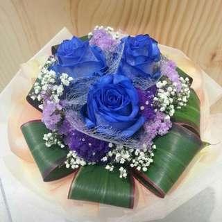 3 stalk blue roses