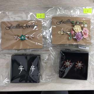 Earrings and hair clips