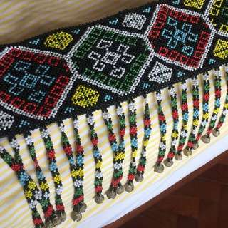DKNY retro ethnic beaded belt with brass buckle