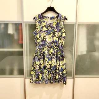 Abstract Floral Dress in Green and Purple