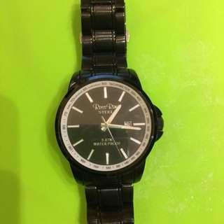 Men's Ross Rino Black Stainless Steel Watch 男裝黑色鋼錶