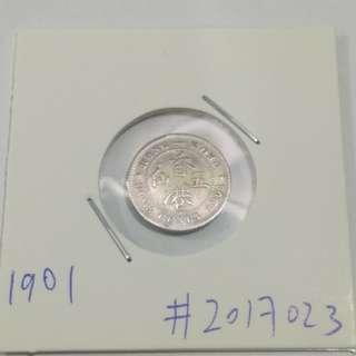 1901 Hong Kong 5cents Queen Victoria (Silver Coin) 1901香港5仙銀幣 維多利亞女王 五仙舊硬幣 Lot#2017023 如圖發貨 ringo77511@yahoo.com