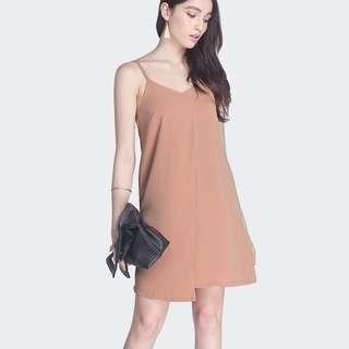 Fayth Beverly Asymmetric Slip Dress (Copper)