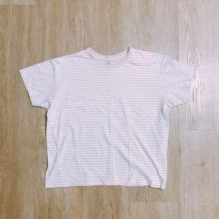 pastel pink & white striped shirt