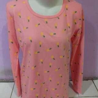 Lengan panjang pink motif