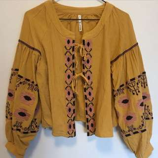 Bohemian Tie Up Top With Woven Detail