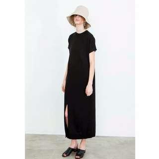 Nude 自訂款 針織微領短袖開衩長洋裝