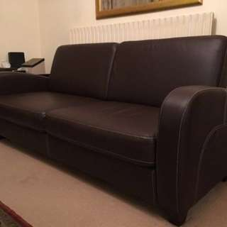 Cozy Brown Faux Leather 3 Seater and 2 Seater Sofa Set