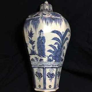 Antique Yuan dynasty plum shape vase48cm High 26cm Wide . Offer to seller . 元到代青花梅瓶人物故事彩。胎釉厚嫩滑带宝光。特价50万元,可以商议。