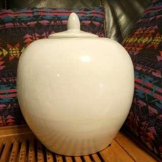 高10吋白釉蓋罐