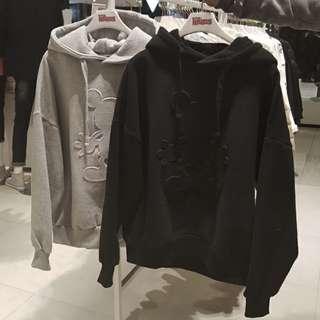 大碼女裝2017秋裝韓版寬鬆米奇長袖衛衣上衣(兩色入)