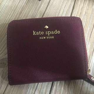 Kate Spade酒紅色零錢包