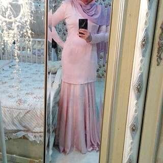 Kurung Moden Flowy Skirt Pastel Pink