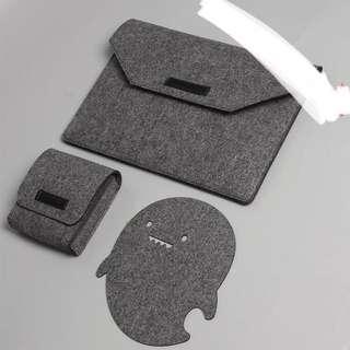 "13"" Grey felt laptop sleeve cover case bag"