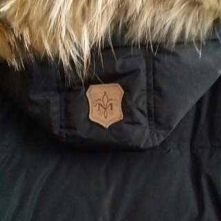 XS BLACK MACKAGE PARKA W/ LEATHER SLEEVES