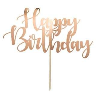 $15 Rose Gold Happy Birthday Cake Topper